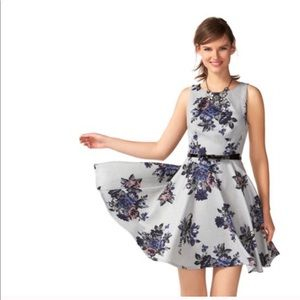 Elle Gray Floral Fit & Flare Dress